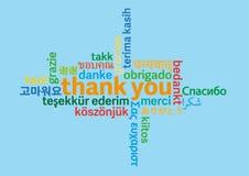 Kleurrijk dank u verwoorden wolk in verschillende talen op blauwe achtergrond royalty-vrije illustratie