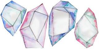 Kleurrijk de juwelenmineraal van de diamantrots Stock Fotografie