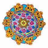 Kleurrijk decoratief hand getrokken mandalapatroon royalty-vrije stock fotografie