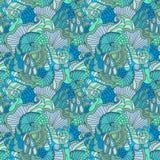 Kleurrijk decoratief naadloos hand getrokken sier de krul vectorpatroon van de krabbelaard royalty-vrije illustratie