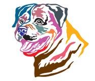 Kleurrijk decoratief portret van vectorillustrati van Hondrottweiler vector illustratie