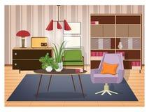 Kleurrijk die binnenland van woonkamer in ouderwetse stijl wordt geleverd Retro meubilair en decor - wartelleunstoel, koffie stock illustratie