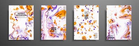 Kleurrijk die dekkingsontwerp met texturen wordt geplaatst Close-up van het schilderen Abstracte heldere hand geschilderde achter stock illustratie