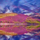 Kleurrijk die landschapslandschap van Pentland-heuvelshelling door pu wordt behandeld Royalty-vrije Stock Foto
