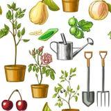 Kleurrijk die patroon van het tuinieren hulpmiddelen, gieter, zaden, installaties, vruchten op witte achtergrond worden geïsoleer vector illustratie