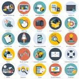 Kleurrijk die pictogram voor zaken, beheer, technologie, financiën en e-commerce wordt geplaatst Vlakke voorwerpen voor websites  royalty-vrije illustratie