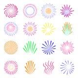 Kleurrijk die vuurwerk op wit wordt geplaatst Stock Foto's