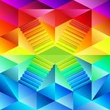 Kleurrijk driehoekig behang met het ontwerp van het trapkruispunt Stock Fotografie