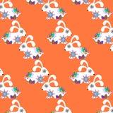 Kleurrijk eenvoudig konijnen naadloos retro patroon en naadloos klopje Stock Foto