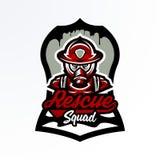 Kleurrijk embleem, sticker, kenteken, logotype van een brandbestrijder in een gasmasker Reddingseenheid, eenvormig beschermingsmi royalty-vrije illustratie