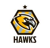 Kleurrijk embleem, sticker, embleem van een havik Vliegende vogel, jager, roofdier, gevaarlijk dier, schild, het van letters voor stock illustratie