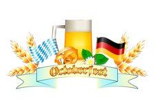 Kleurrijk embleem voor prentbriefkaaren en groeten met Oktoberfest Stock Afbeeldingen