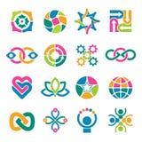 kleurrijk embleemmalplaatje Vennoten geïntegreerde alliantie om vector abstracte vormen voor zaken of creatieve logotypes stock illustratie