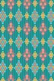 Kleurrijk etnisch naadloos opgesmukt patroon over strepenachtergrond vector illustratie