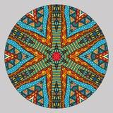Kleurrijk Etnisch Rond Patroon Stock Afbeeldingen