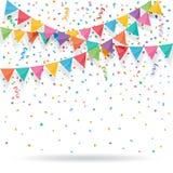 Kleurrijk explodeer confettien met buntings en linten royalty-vrije illustratie