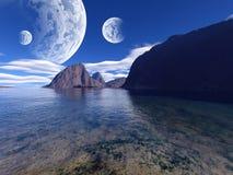Kleurrijk fantasielandschap Stock Foto's