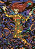 Kleurrijk fantastisch mooi meisje Surreal FI w van sc.i van de krabbelstijl stock illustratie