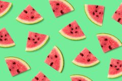 Kleurrijk fruitpatroon van watermeloenplakken stock foto's