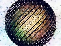 Kleurrijk futuristisch globaal voorwerp met deeltjes Vector Illustratie