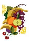 Kleurrijk geïllustreerdl fruit Royalty-vrije Stock Afbeelding