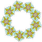 Kleurrijk geel turkoois bloemenkader, de bloemenkroon van de klemkunst Stock Fotografie