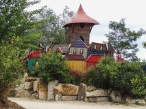 Kleurrijk gek houten kasteel van Kulturinsel Einsiedeln royalty-vrije stock foto's