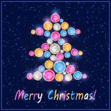 Kleurrijk Gem Stone Christmas Tree Card Royalty-vrije Stock Fotografie