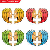 Kleurrijk Gemini Zodiac Star Signs Sketch Stock Foto's
