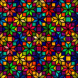 Kleurrijk geometrisch het gebrandschilderde glas naadloos patroon van de stervorm, vector Stock Foto