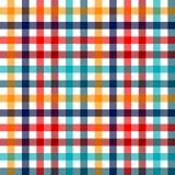 Kleurrijk geruit de stoffen naadloos patroon van de gingangplaid in blauwe witte rood en geel, druk Stock Afbeeldingen