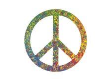 Kleurrijk geschilderd die vredessymbool op wit wordt geïsoleerd Stock Fotografie
