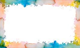 Kleurrijk geschilderd watercolour kader Stock Fotografie