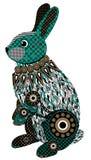 Kleurrijk gestileerd konijn in zwarte, groene en bruine tonen Stock Afbeeldingen