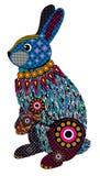 Kleurrijk gestileerd konijntje in blauwe en roze kleuren Royalty-vrije Stock Afbeeldingen