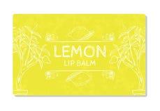 Kleurrijk geweven etiket, sticker voor cosmetischee producten De verpakkende citroen van de ontwerplippenstift Vector Stock Fotografie