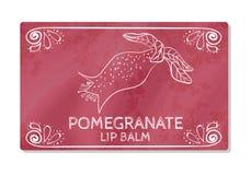 Kleurrijk geweven etiket, sticker voor cosmetischee producten Het verpakkingsontwerp van de lippenstift met de smaak van granaata Royalty-vrije Stock Foto