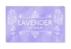 Kleurrijk geweven etiket, sticker voor cosmetischee producten Het verpakkingsontwerp van de lippenstift met de smaak van lavendel Royalty-vrije Stock Fotografie