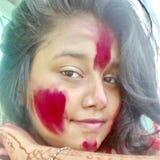 Kleurrijk gezicht in het Holi-festival Royalty-vrije Stock Foto