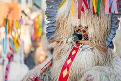 Kleurrijk gezicht van Kurent, Sloveens traditioneel masker Stock Fotografie