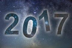 2017 Kleurrijk gloed 2017 nieuw jaar De hemel van de nacht Stock Afbeelding