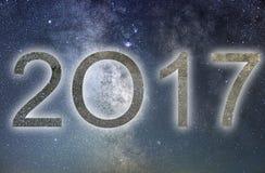 2017 Kleurrijk gloed 2017 nieuw jaar De hemel van de nacht Royalty-vrije Stock Foto
