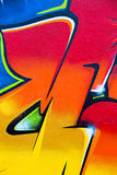 Kleurrijk graffitifragment Stock Fotografie