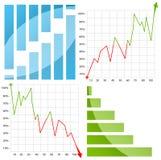 Kleurrijk grafiek/diagram met pijl op wit Royalty-vrije Stock Afbeeldingen