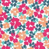 Kleurrijk grafisch grote schaal bloemen vector naadloos patroon op witte achtergrond royalty-vrije illustratie