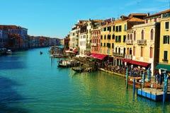 Kleurrijk Grand Canal, Venetië, Italië, Europa stock fotografie