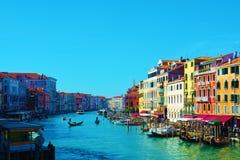 Kleurrijk Grand Canal, Venetië, Italië, Europa royalty-vrije stock afbeeldingen