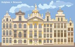 Kleurrijk Grand Place in Brussel vector illustratie