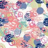 Kleurrijk grunge abstract naadloos patroon met verschillende borstelslagen en vormen stock illustratie