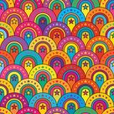 Kleurrijk half de cirkel naadloos patroon van de sterdeur stock illustratie